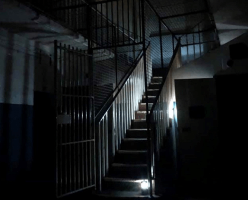 Darkened stairs inside Geelong Gaol