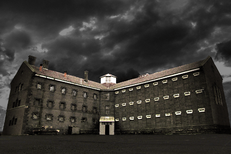 Geelong Gaol on a stormy night