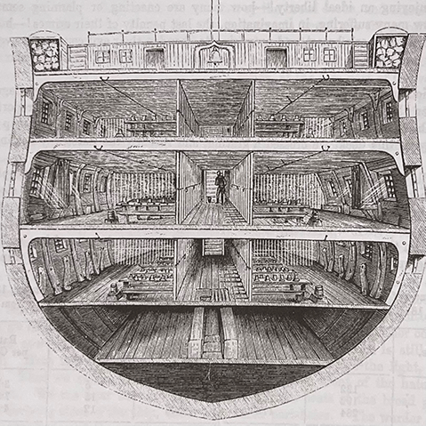 Cross section of hull of ship illustration